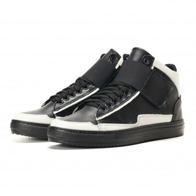 Ανδρικά μαύρα δερμάτινα sneakers BKS it291117-20 3