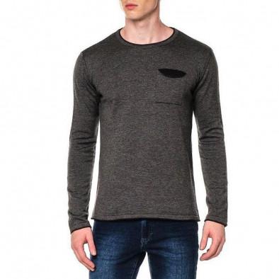 Ανδρικό γκρι πουλόβερ με τσέπη tr240921-2 2