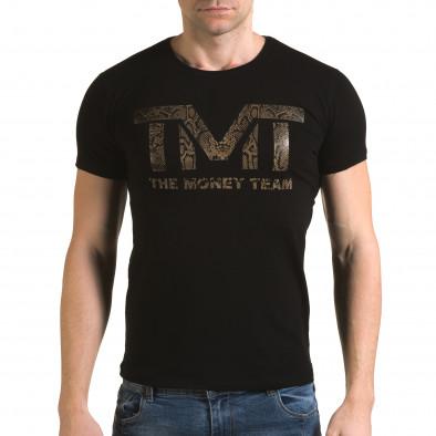 Ανδρική μαύρη κοντομάνικη μπλούζα Glamsky il120216-64 2