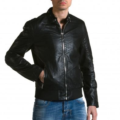 Ανδρικό μαύρο μπουφαν δερματινη X-Feel ca190116-34 4