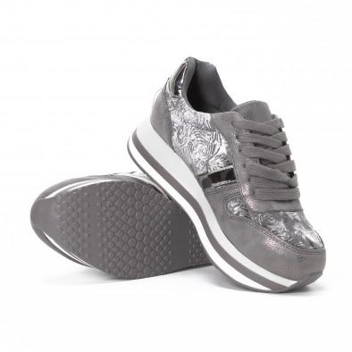 Γυναικεία γκρι sneakers με πλατφόρμα it150818-80 4