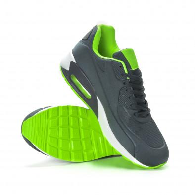 Ανδρικά γκρι αθλητικά παπούτσια με αερόσολα it190219-10 4