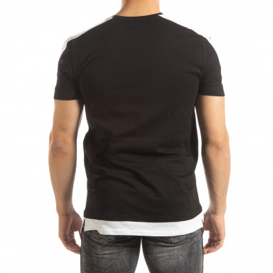 Ανδρική μαύρη κοντομάνικη μπλούζα με λευκές λεπτομέρειες it150419-83 4