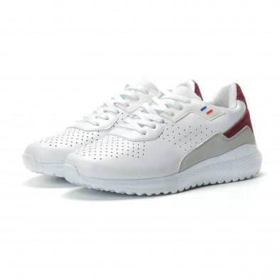 Ανδρικά λευκά αθλητικά παπούτσια με διακοσμήσεις ελαφρύ μοντέλο it250119-17 3