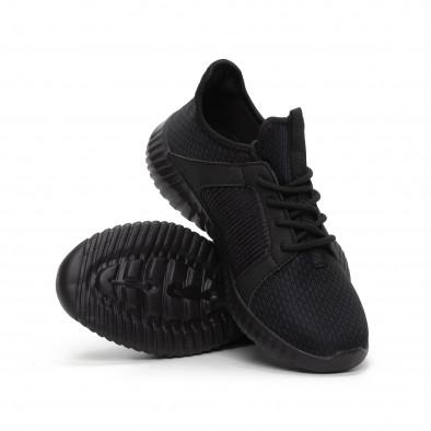 Ανδρικά μαύρα αθλητικά παπούτσια ελαφρύ μοντέλο it240419-16 4