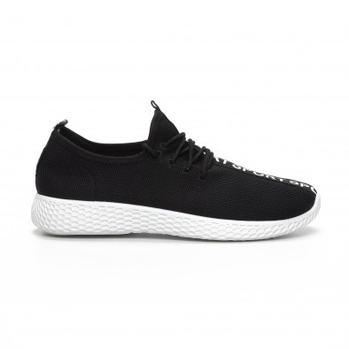 Ανδρικά μαύρα υφασμάτινα αθλητικά παπούτσια  it240419-2 2