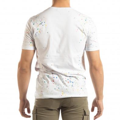 Ανδρική λευκή κοντομάνικη μπλούζα με διακοσμητικές πιτσιλιές μπογιάς it150419-88 3