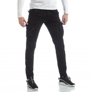 Ανδρικό μαύρο παντελόνι με cargo τσέπες it040219-40 4