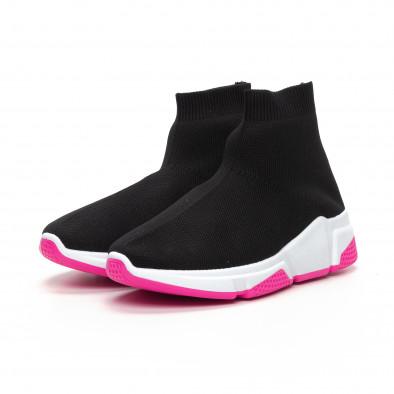 Γυναικεία μαύρα αθλητικά παπούτσια καλτσάκι με Chunky σόλα it240419-57 3