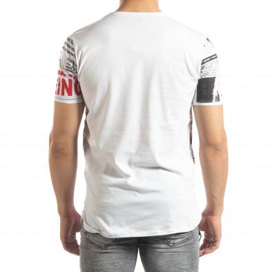 Ανδρική λευκή κοντομάνικη μπλούζα Exclusive News it150419-86 3