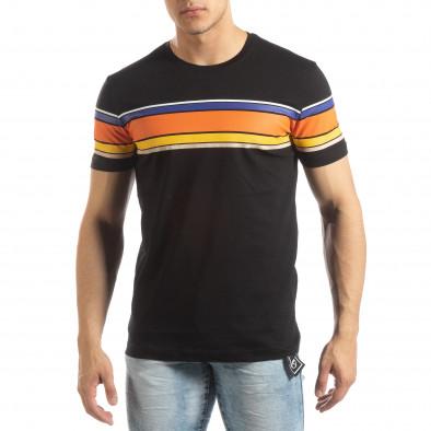 f2dcb515e9c1 Ανδρική μαύρη κοντομάνικη μπλούζα με πολύχρωμες ρίγες it150419-53 2 ...