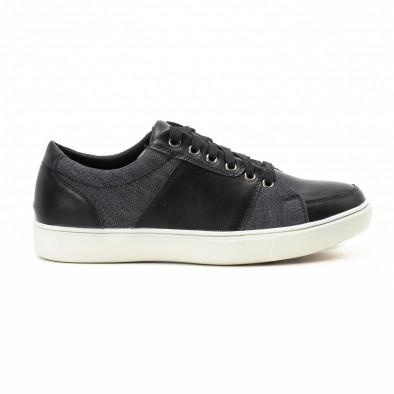 Ανδρικά μαύρα sneakers από δερματίνη και τζιν it140918-5 2