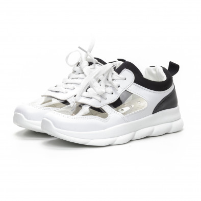 Γυναικεία αθλητικά παπούτσια με διαφάνιες σε λευκό και μαύρο it240419-56 3