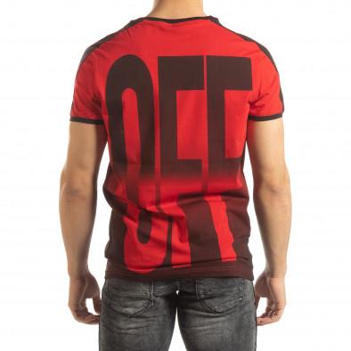 Ανδρική κόκκινη κοντομάνικη μπλούζα ON/OFF it150419-51 3