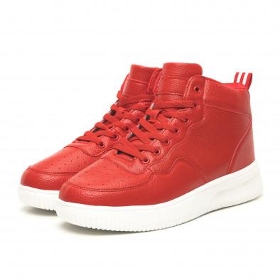 Ανδρικά ψηλά κόκκινα sneakers με Shagreen design it251019-15 3