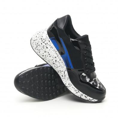 Γυναικεία μαύρα αθλητικά παπούτσια με λεπτομέρειες από λουστρίνι και μπλε it281019-14 5