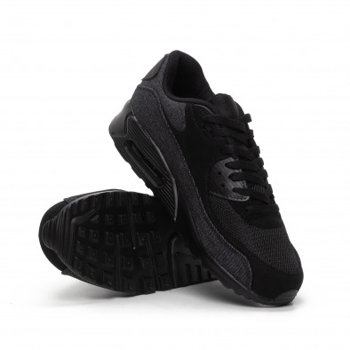 All black ανδρικά αθλητικά παπούτσια με τζιν ύφασμα it240419-17 4