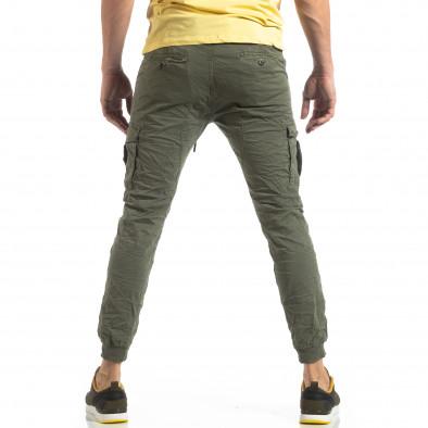 Ανδρικό πράσινο παντελόνι cargo με κορδόνια it210319-20 4