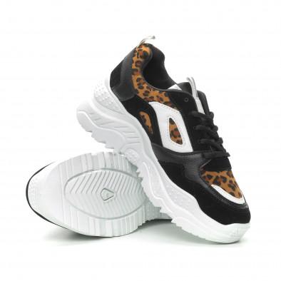 Γυναικεία μαύρα αθλητικά παπούτσια Chunky με λεοπάρ λεπτομέρειες it150319-62 4