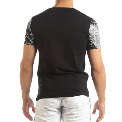 Ανδρική μαύρη κοντομάνικη μπλούζα με πριντ it150419-75 3