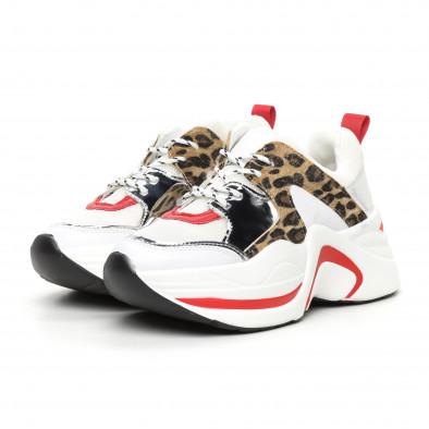 Γυναικεία αθλητικά παπούτσια σε λευκό και λεοπάρ it130819-83 3