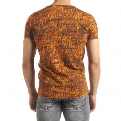 Ανδρική πορτοκαλί κοντομάνικη μπλούζα Vintage it150419-104 3