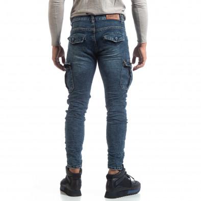 Ανδρικό γαλάζιο Cargo Jeans σε ροκ στυλ it170819-54 4