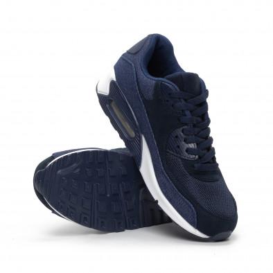 Ανδρικά μπλε αθλητικά παπούτσια με τζιν ύφασμα it240419-18 4