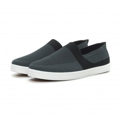 Ανδρικά γκρι πλεκτά sneakers με μαύρες λεπτομέρειες it150319-18 3