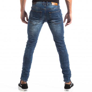 Ανδρικό μπλε τζιν Slim Jeans με διακοσμητικά μπαλώματα it260918-1 5