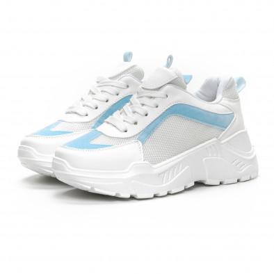 Γυναικεία Chunky αθλητικά παπούτσια σε λευκό και γαλάζιο it240419-45 3