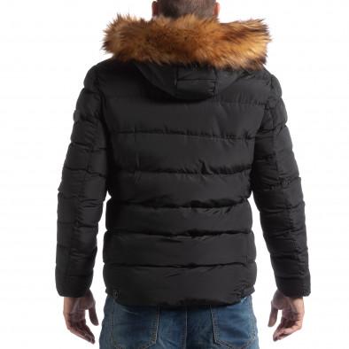 Ανδρικό μαύρο χειμωνιάτικο μπουφάν με επένδυση γούνα it250918-76 4