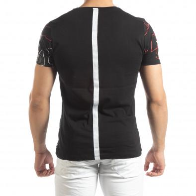 Ανδρική μαύρη κοντομάνικη μπλούζα με ρίγα στην πλάτη it150419-76 3