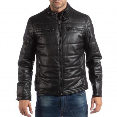 Ανδρικό μαύρο μπουφάν από συνθετικό δέρμα με γιακά μοα it250918-89 3