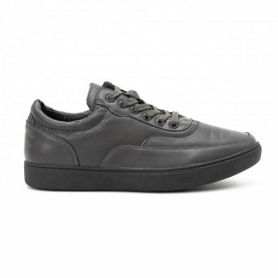 Ανδρικά γκρι sneakers με διακοσμητικές τρύπες it140918-4 2