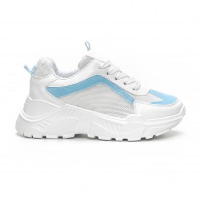 Γυναικεία Chunky αθλητικά παπούτσια σε λευκό και γαλάζιο it240419-45 2