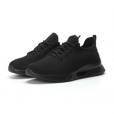 Ανδρικά μαύρα αθλητικά παπούτσια Hole design ελαφρύ μοντέλο it250119-24 3