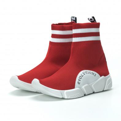 Γυναικεία κόκκινα ψηλά sneakers καλτσάκι it250119-58 5