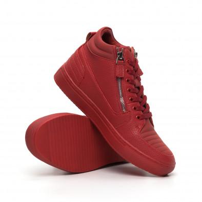 Ανδρικά κόκκινα sneakers με Shagreen design it260919-48 5
