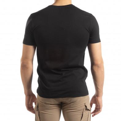 Ανδρική μαύρη κοντομάνικη μπλούζα με πριντ it150419-92 3