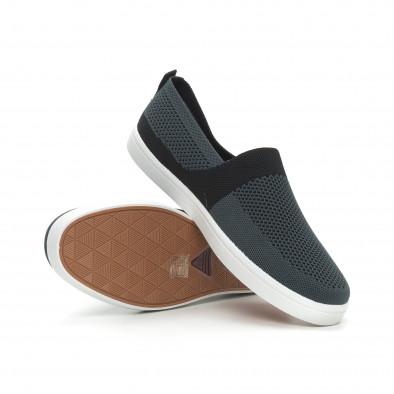 Ανδρικά γκρι πλεκτά sneakers με μαύρες λεπτομέρειες it150319-18 4