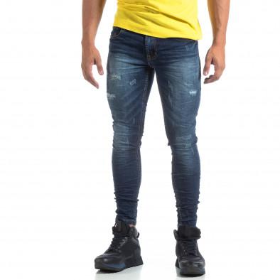 Skinny ανδρικό μπλέ τζιν με σκισίματα it170819-47 2