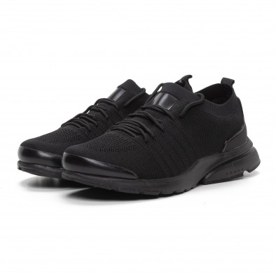 Ανδρικά μαύρα αθλητικά παπούτσια καλτσάκι ελαφρύ μοντέλο it240419-23 3