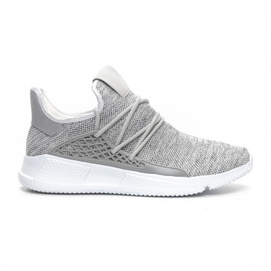 Ανδρικά γκρι μελάνζ αθλητικά παπούτσια ελαφρύ μοντέλο it240419-15 2