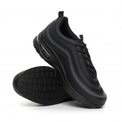 Ανδρικά μαύρα αθλητικά παπούτσια με αερόσολα MAX it130819-32 4