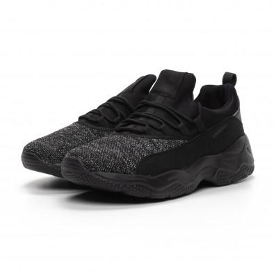 Ανδρικά μαύρα μελάνζ αθλητικά παπούτσια ελαφρύ μοντέλο it240419-21 3