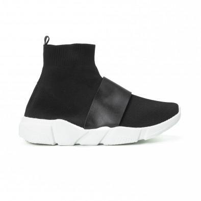 Ανδρικά μαύρα Slip-on αθλητικά παπούτσια με δερμάτινη λεπτομέρεια it150818-3  2 ... 0d6215ce072