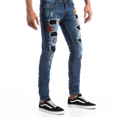 Ανδρικό μπλε τζιν Slim Jeans με διακοσμητικά μπαλώματα it260918-1 4