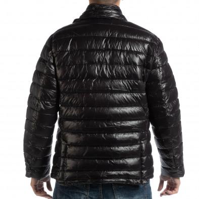 Ανδρικό μαύρο χειμωνιάτικο μπουφάν τύπου μπλέιζερ it261018-130 4
