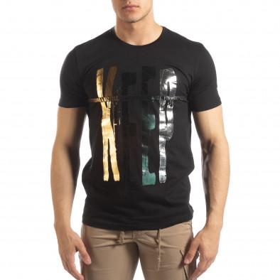 Ανδρική μαύρη κοντομάνικη μπλούζα με πριντ it150419-92 2